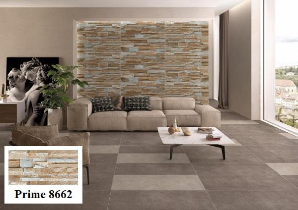Gạch trang trí phòng khách Prime 8662 30x60 họa tiết giả cổ với bề mặt nhám kết hợp hiệu ứng hạt đường