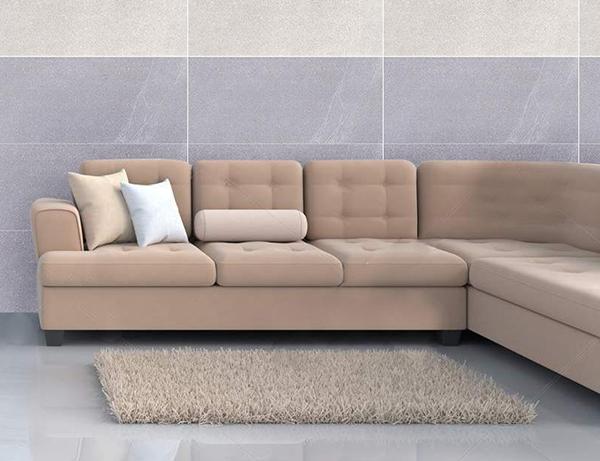 Gạch ốp tường màu ghi xám đậm giúp phòng khách thêm sang trọng