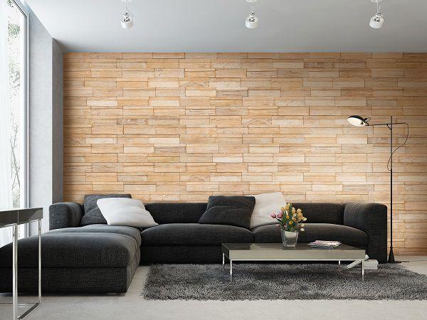 Mẫu gạch ốp tường phòng khách màu nâu nhạt khá đẹp mắt và ấn tượng