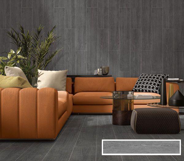 Kết hợp giữa cả gạch ốp và lát nền vân gỗ màu vân đen mang đến sự sang trọng