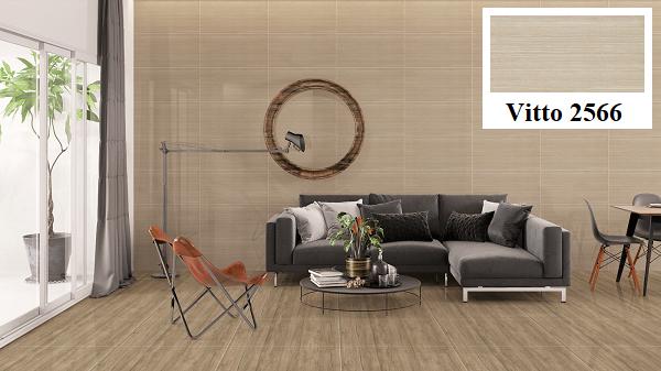 Không gian sống trở nên ấm cúng hơn hẳn với mẫu gạch ốp tường giả gỗ Vitto 2566