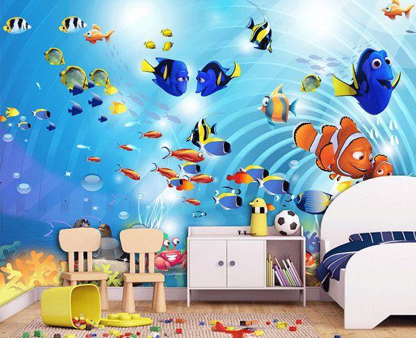 Gạch 3D đại dương mang đến sự mới la, đẹp mắt cho phòng ngủ các bé