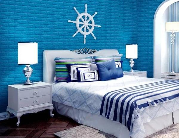 Gạch thẻ màu xanh phù hợp với phòng ngủ của những bé trai lớn