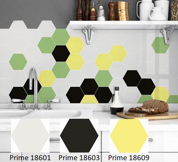 Sự kết hợp giữa các mẫu gạch lục giác dán tường trang trí Prime 18601 – 03 – 09 – 11 cho căn bếp trông rạng rỡ hơn hẳn.