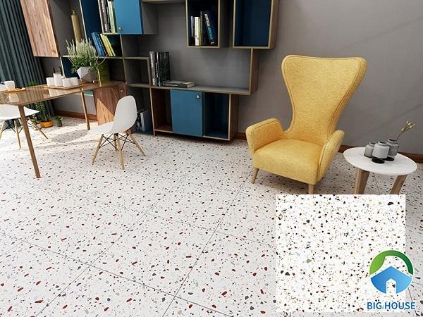 Lát nền phòng khách với gạch terrazzo 60x60 họa tiết đá granite hấp dẫn người đối diện ngay từ cái nhìn đầu tiên