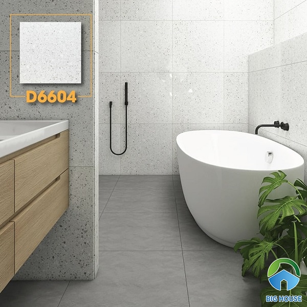Gợi ý mẫu gạch terrazzo D6604 trắng mờ họa tiết đá đen nhỏ li ti rất ấn tượng