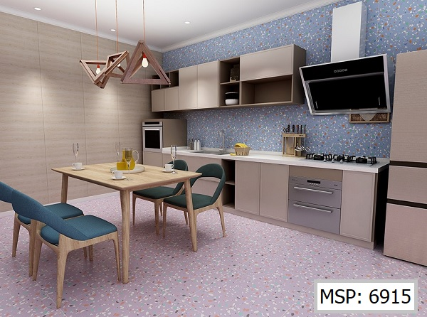 Sàn nhà và tường bếp ứng dụng gạch terrazzo đẹp hiện đại, cao cấp
