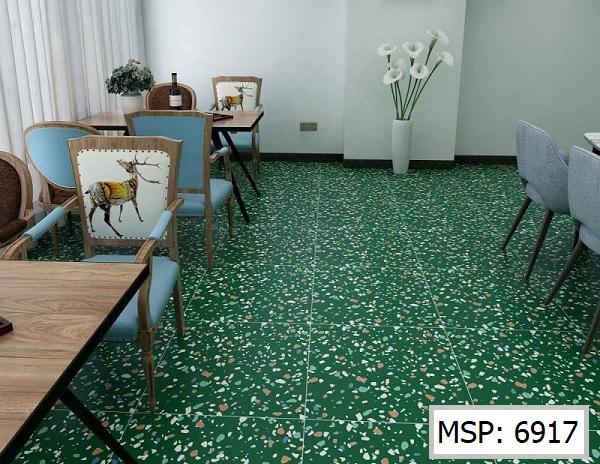 Sử dụng gạch trang trí đa sắc lát nền quán cà phê thể hiện gu thẩm mỹ tinh tế của chủ quán