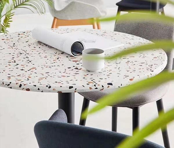 Họa tiết terrazzo được ứng dụng để làm bàn trang trí
