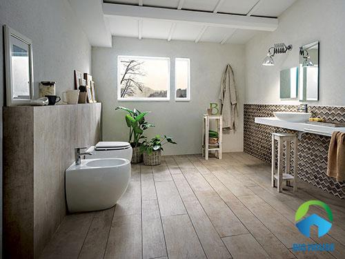 mẫu gạch toilet giả gỗ nhẹ nhàng