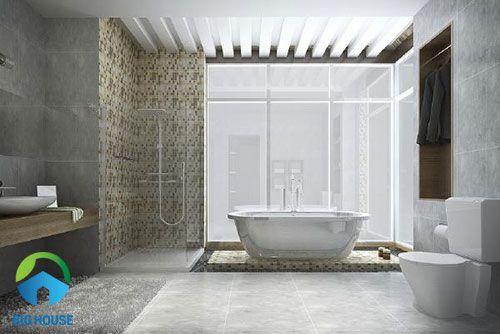 gạch toilet màu xám đẹp ấn tượng