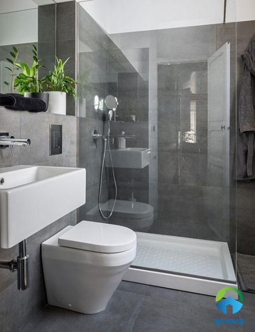 gạch toilet màu xám đẹp nhẹ nhàng