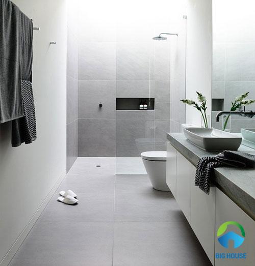 mẫu gạch ốp toilet màu xám