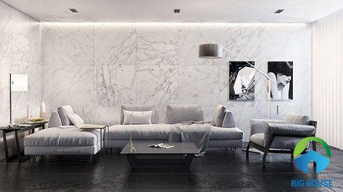 gạch trang trí tường phòng khách