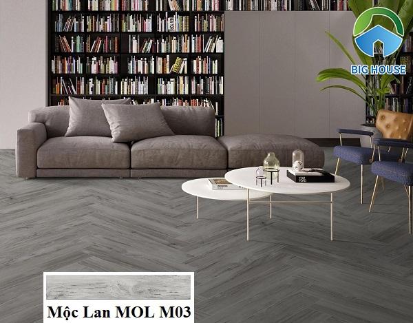 MOL M03 thuộc bộ sưu tập Mộc Lan của Eurotile ứng dụng lát nền phòng khách theo kiểu ziczac rất thu hút