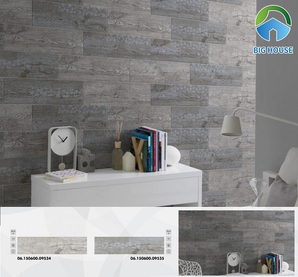 Lựa chọn bộ gạch giả gỗ xám Prime 9534 - 9535 ốp tường xen kẽ tạo sự khác biệt
