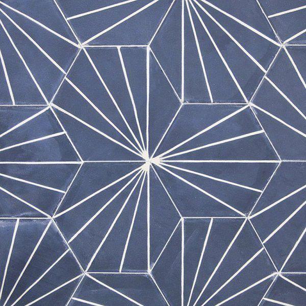Map gạch lục giác lát nền nhà màu xanh nước biển họa tiết 5 dòng kẻ