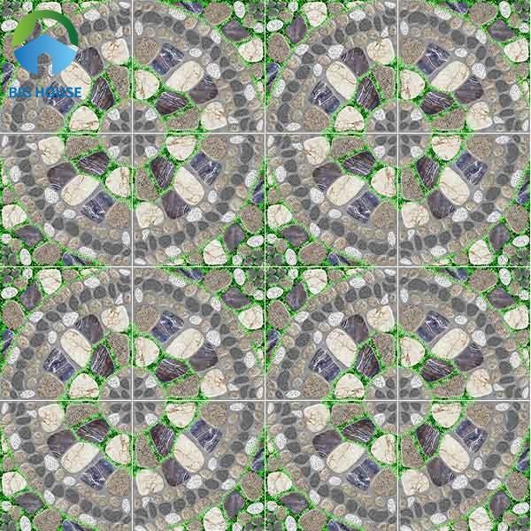 Độc đáo và thu hút hơn với map gạch có họa tiết sỏi xen kẽ cỏ xanh tạo thành hình tròn đẹp mắt