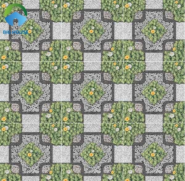 Map gạch sinh động với họa tiết cỏ như thật điểm thêm những bông hoa trắng vàng