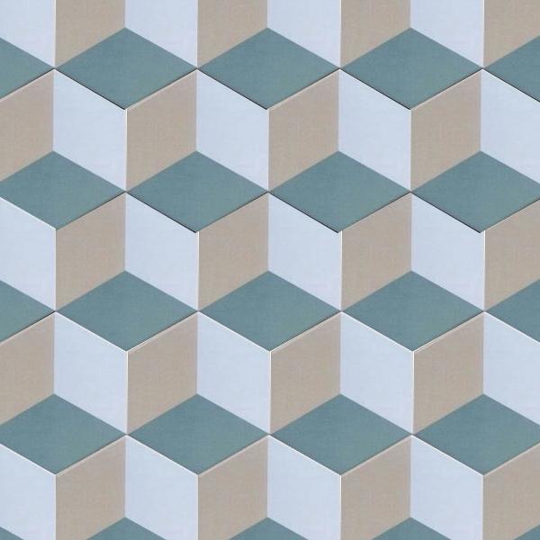 Map gạch lục giác họa tiết hình học 3D với 3 gam màu trắng – beige – xanh lục nhạt