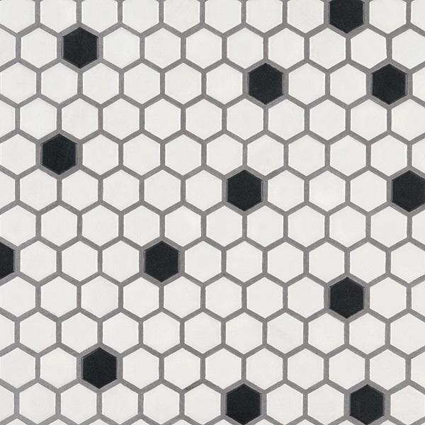 Map gạch mosaic lục giác ốp tường trắng điểm đen tối giản mà vẫn thu hút