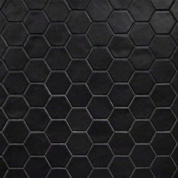 Map gạch lục giác màu đen bề mặt men Matt tạo chiều sâu cho không gian ứng dụng
