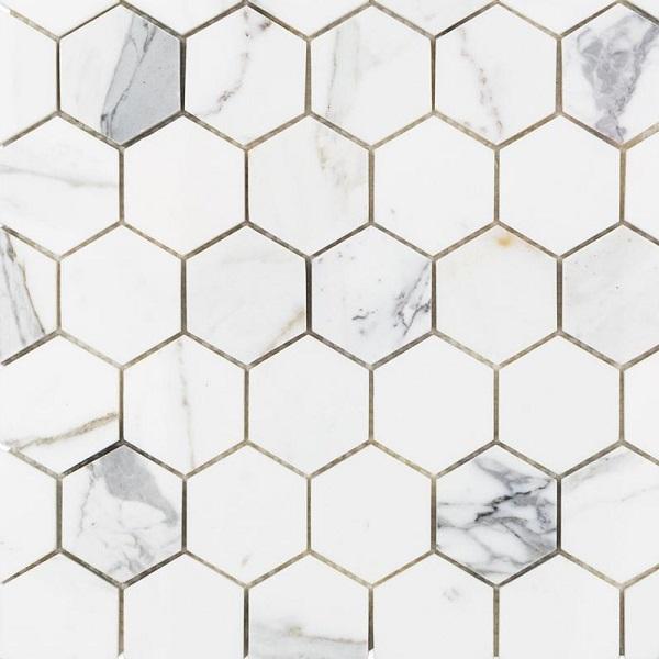 Map gạch lục giác trắng vân đá marble xám đẹp sang trọng