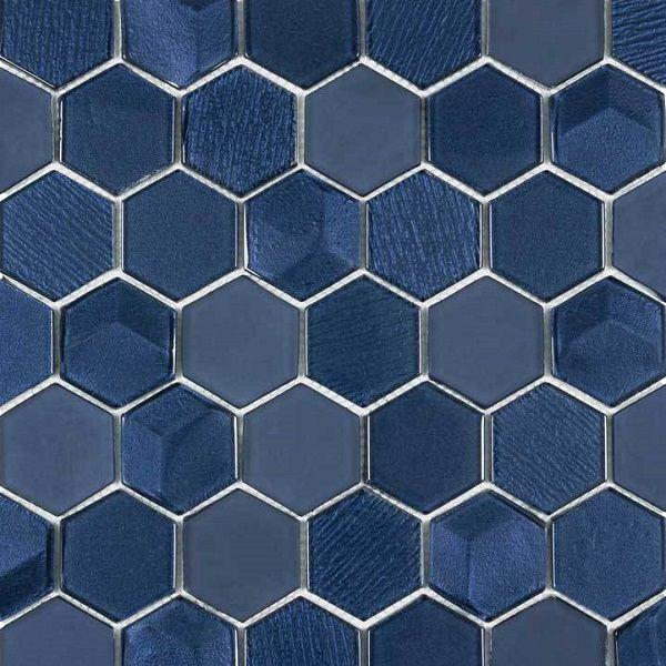 Tông màu xanh navy cùng họa tiết xước là đặc điểm của map gạch lục giác ốp tường này