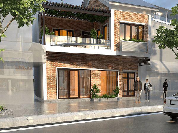 Màu đỏ đặc trưng của gạch gốm giúp mặt tiền nhà trở nên nổi bật hơn