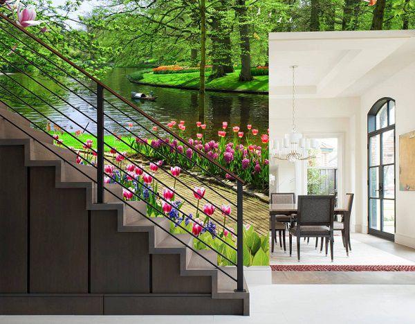 mẫu gạch 3d cầu thang phong cảnh