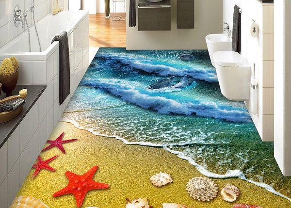 Nhà tắm với hình ảnh sóng xô bờ cát độc đáo, ấn tượng