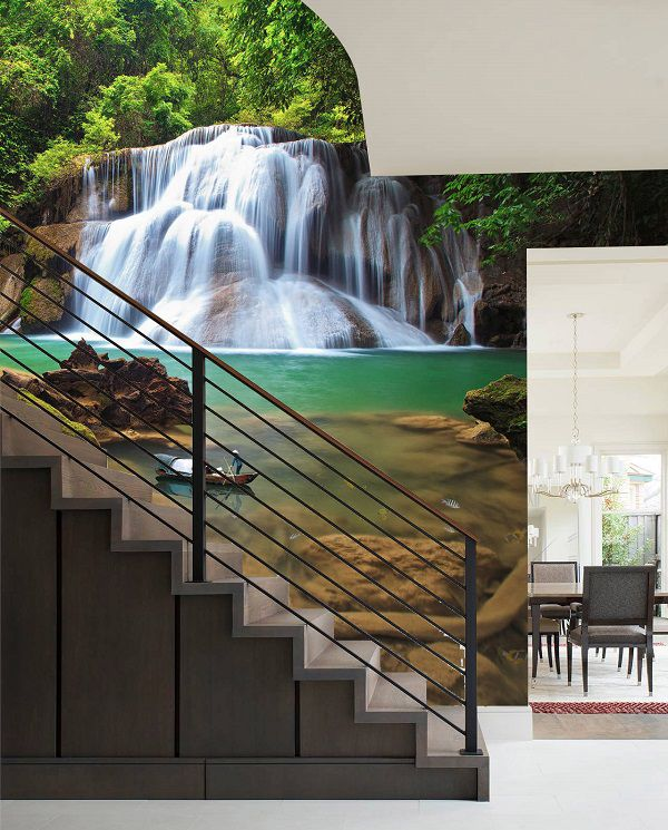 mẫu gạch 3d ốp tường cầu thang thác nước