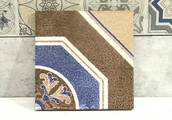 Hoa văn hình khối giúp mẫu gạch trông thực sự nổi bật, tạo ấn tượng sâu sắc