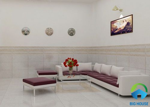 mẫu gạch ốp chân tường phòng khách