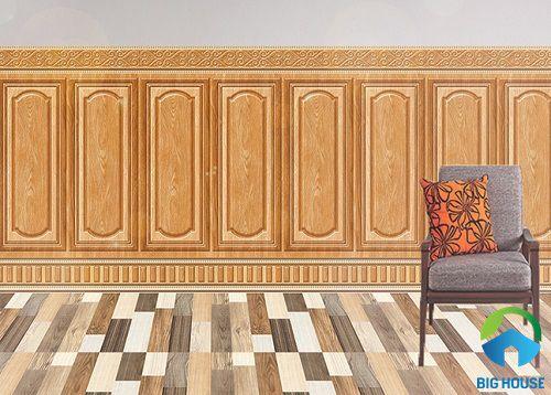 mẫu gạch ốp chân tường phòng khách ấn tượng