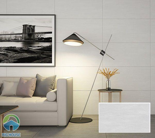 Mẫu gạch ốp tường phòng khách 30x60 màu ghi đá nhẹ nhàng cho phòng khách sang trọng