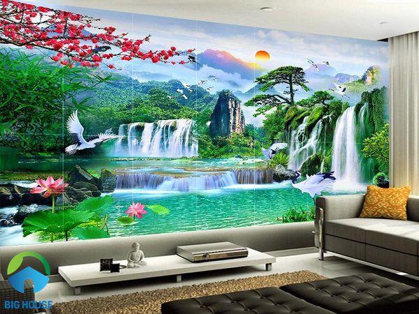 Gạch 3D sơn thủy đẹp mắt mang cả thiên nhiên hoang dã vào phòng khách nhà bạn