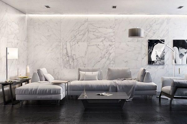Gạch ốp phòng khách màu trắng mang đến sự đẳng cấp