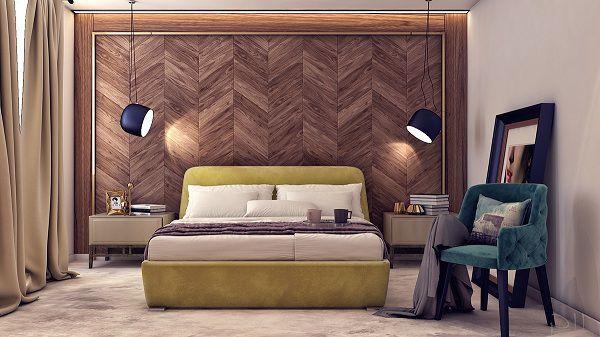Gạch ốp tường phòng ngủ màu nâu sang trọng độc đáo