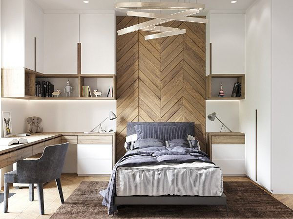 Chọn gạch vân gỗ ốp tường dạng xương cá tạo điểm nhấn đặc biệt cho không gian nghỉ ngơi