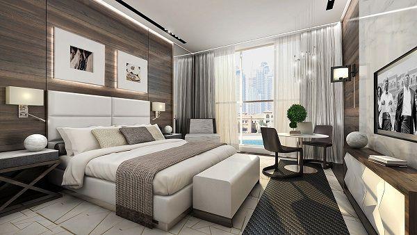 Gạch ốp tường vân gỗ kết hợp cùng đồ nội thất màu trắng tạo nên sự ấn tượng