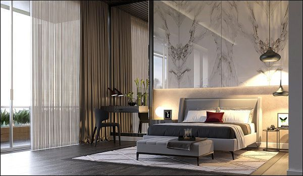Gạch ốp tường bóng kiếng vân khói đen sang trọng cho phòng ngủ đẹp mắt
