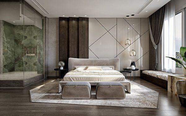 Gạch bóng kiếng ốp tường phòng ngủ