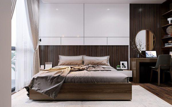 Gạch ốp màu trắng kết hợp cùng nội thất giả gỗ mang đến sự nổi bật