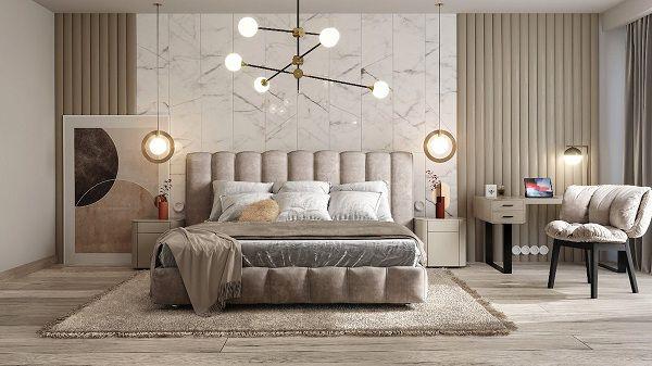 Gạch ốp tường phòng ngủ màu trắng vân khói đen sang trọng