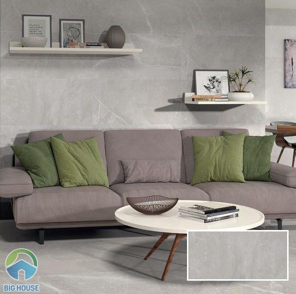 Mẫu gạch tường phòng khách 30x60 giả đá màu ghi xám sang trọng