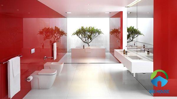 phối màu gạch nhà tắm đối nghịch