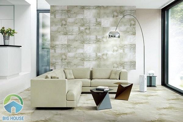 Cách phối màu gạch ốp tường phòng khách theo mảng tạo điểm nhấn riêng