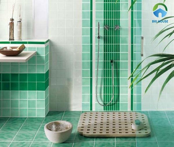 phối màu gạch ốp tường màu xanh 1