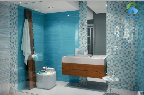 phối màu gạch ốp tường màu xanh 2